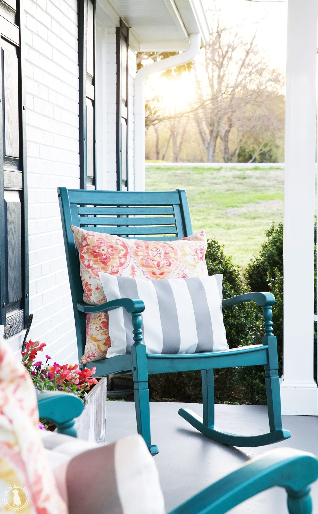 Bright Rural Porch Rocking Chairs
