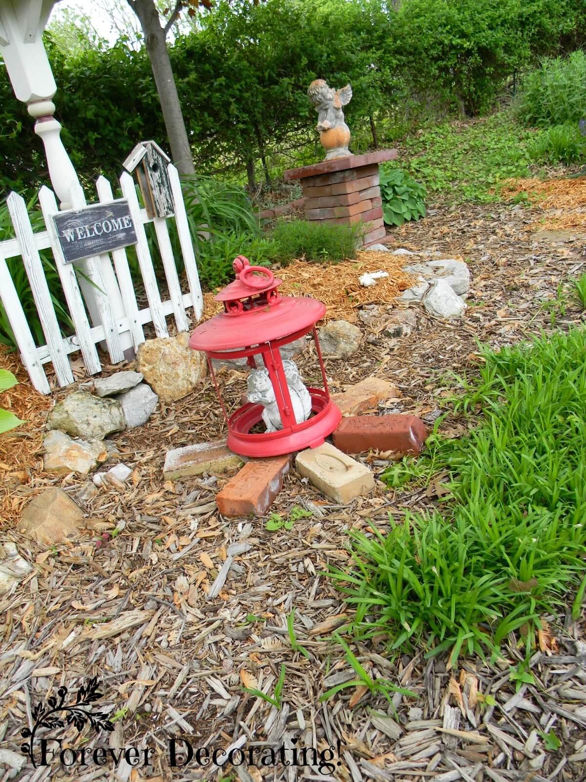 Squirrel Statue Inside a Vintage Red Lantern