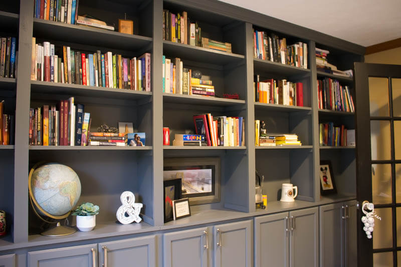 Ceiling to Floor Built-In Home Library Wall