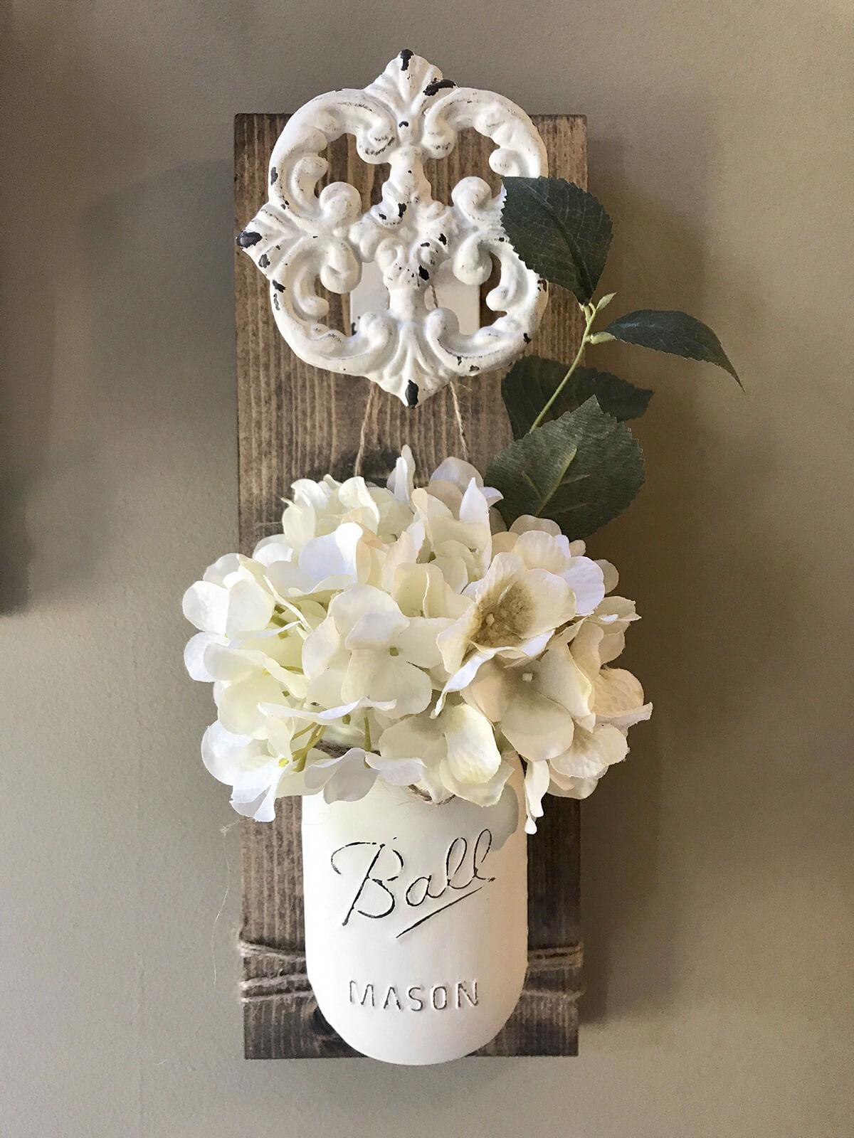 White Painted Mason Jar Sconces