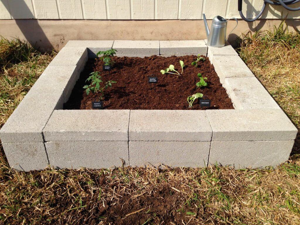 Cinder Block DIY Raised Garden Bed