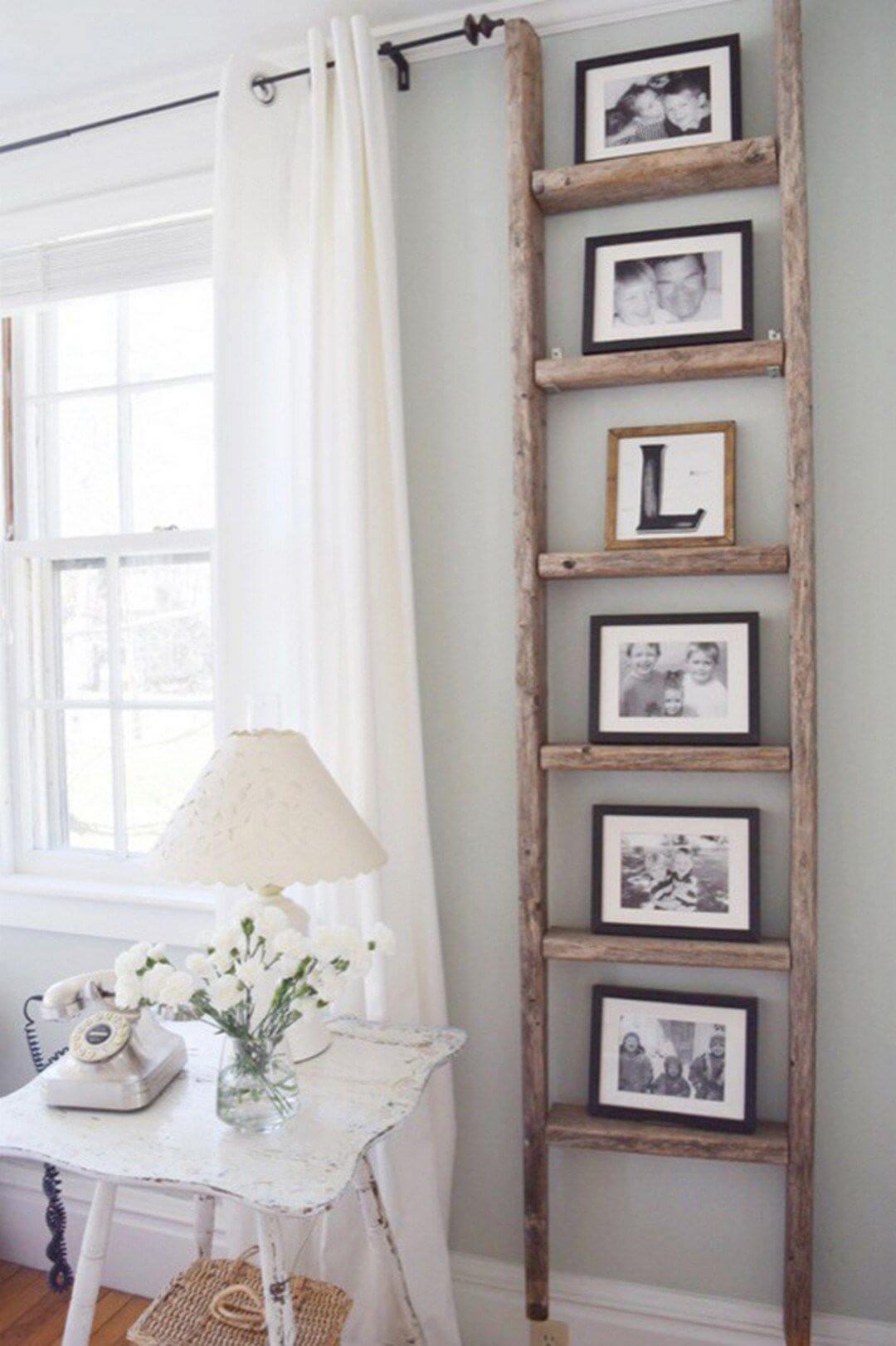 Vertical Ladder Photo Frame Farmhouse Decor Display