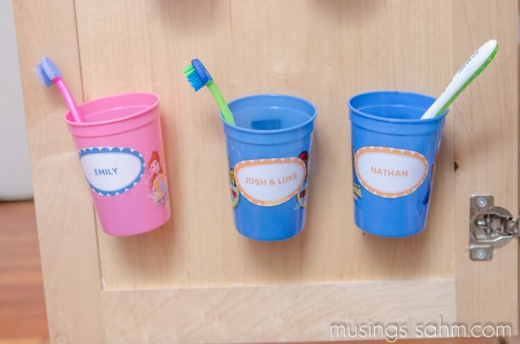 Personalized Plastic Toothbrush Cups for Cabinet Door