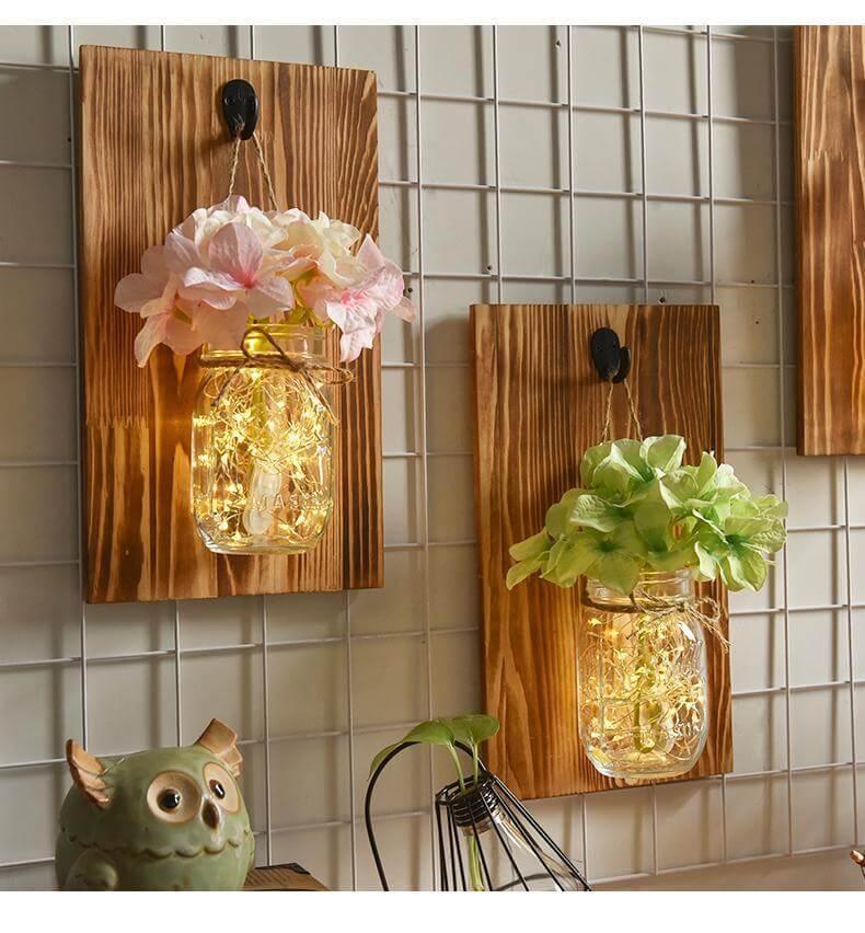 Elegant Wall Mounted Mason Jar Fairy Lights