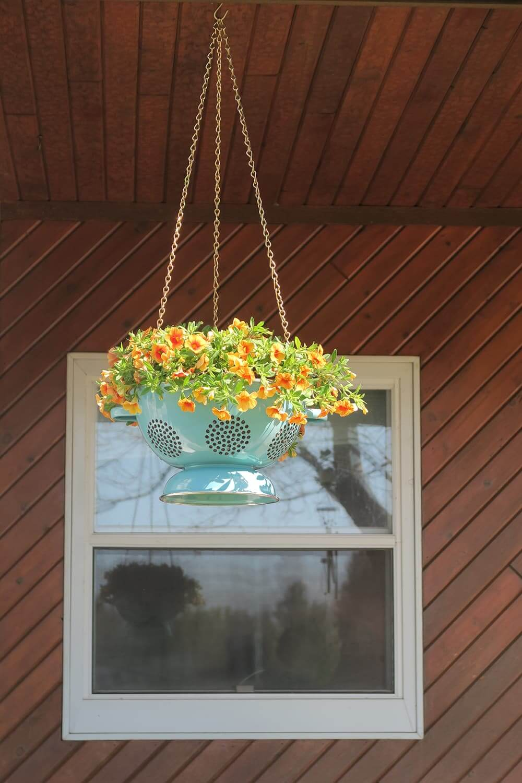 Repurposed Turquoise Colander Turned Hanging Basket