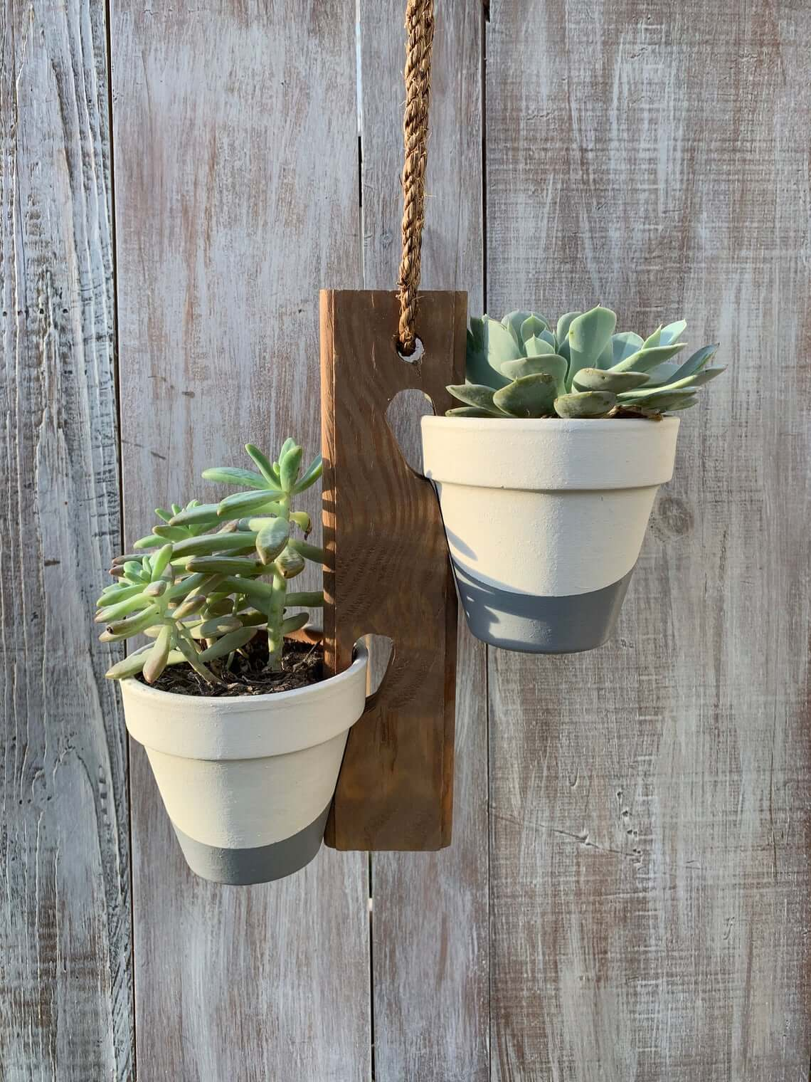 Two Pot Wooden Hanging Planter