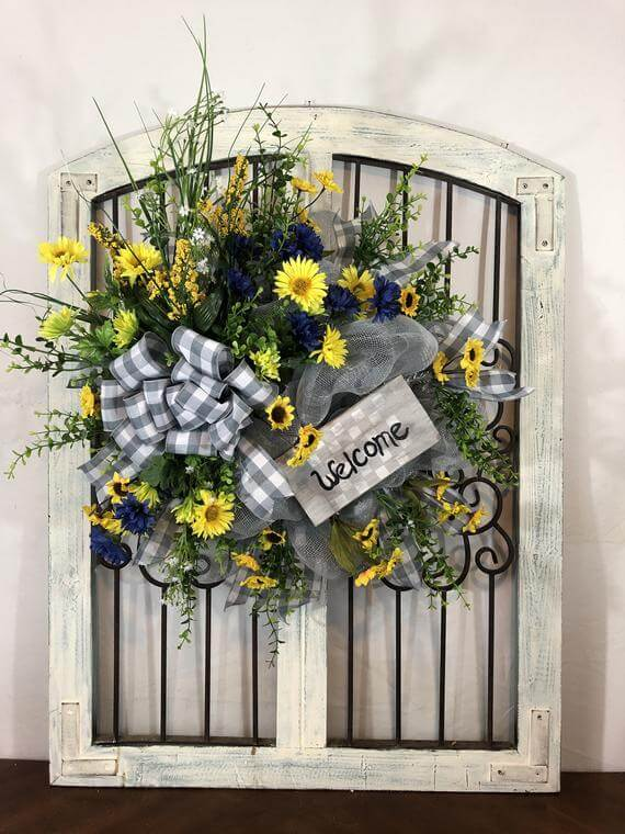 Bustling Flowers with Welcome Sign Wreath