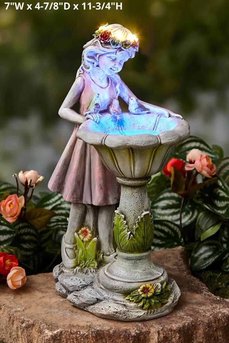 Tiny and Smiling Garden Fairy Birdbath