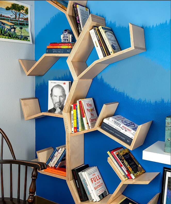 Awesome Wooden Wall Art Tree Bookshelf