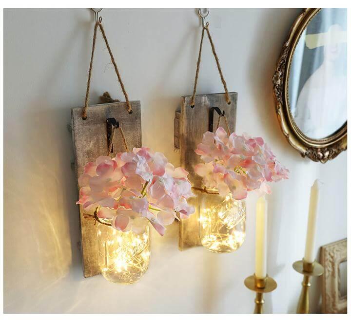 Mason Jar Flower Sconces with LED Lighting