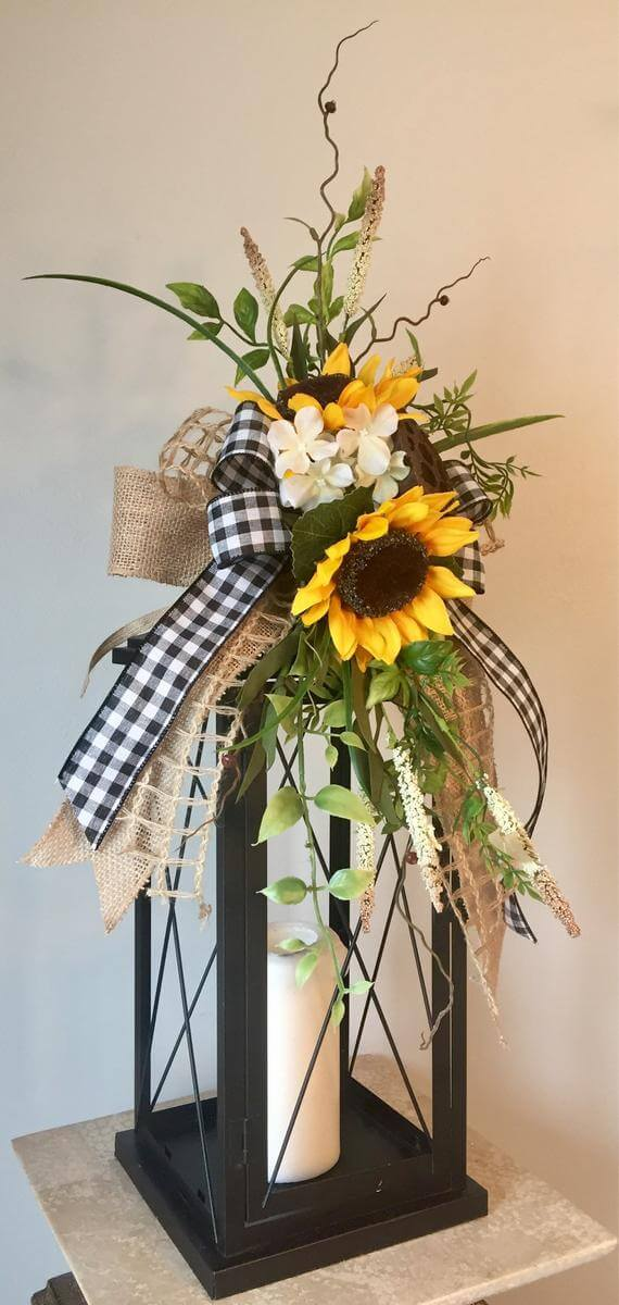 Sunflower and Candle Table Arrangement