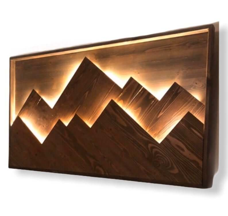 Wooden Mountain Range with LED Backlights