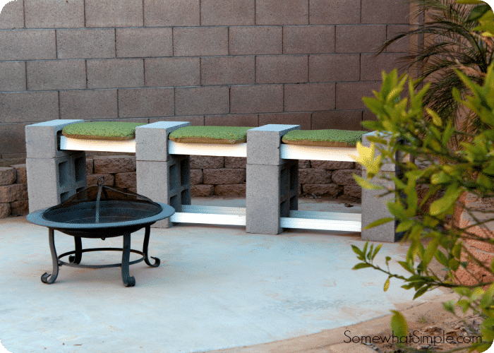 Charming Industrial Block and Board Outdoor Bench