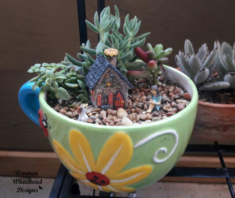 Ladybug Teacup Garden Fairy Display