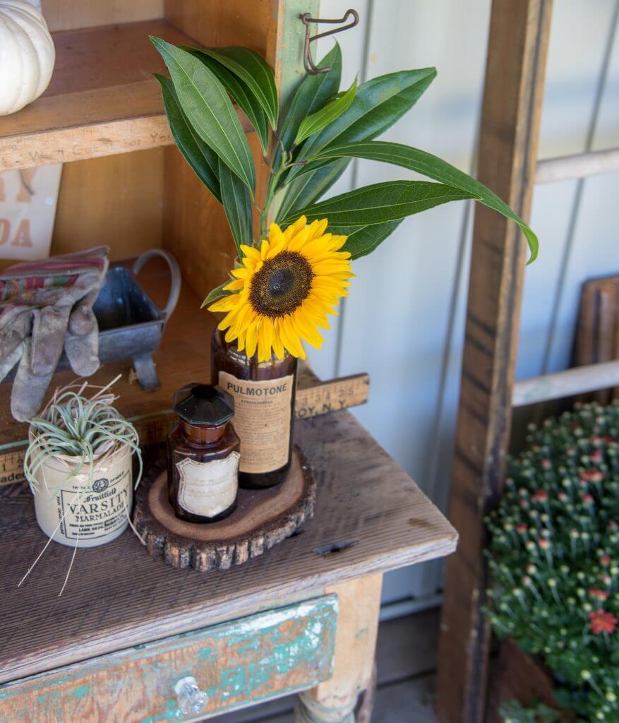 Brown Apothecary Bottles Vintage Porch Decor