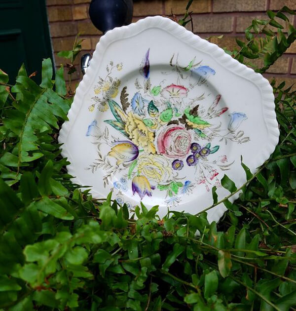 Plant Upgrade with Vintage Floral Plates