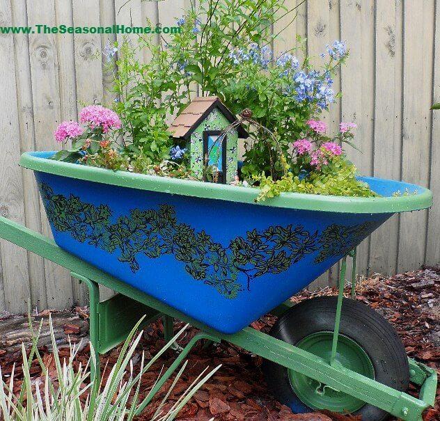 Whimsical Broken Wheelbarrow Fairy Garden