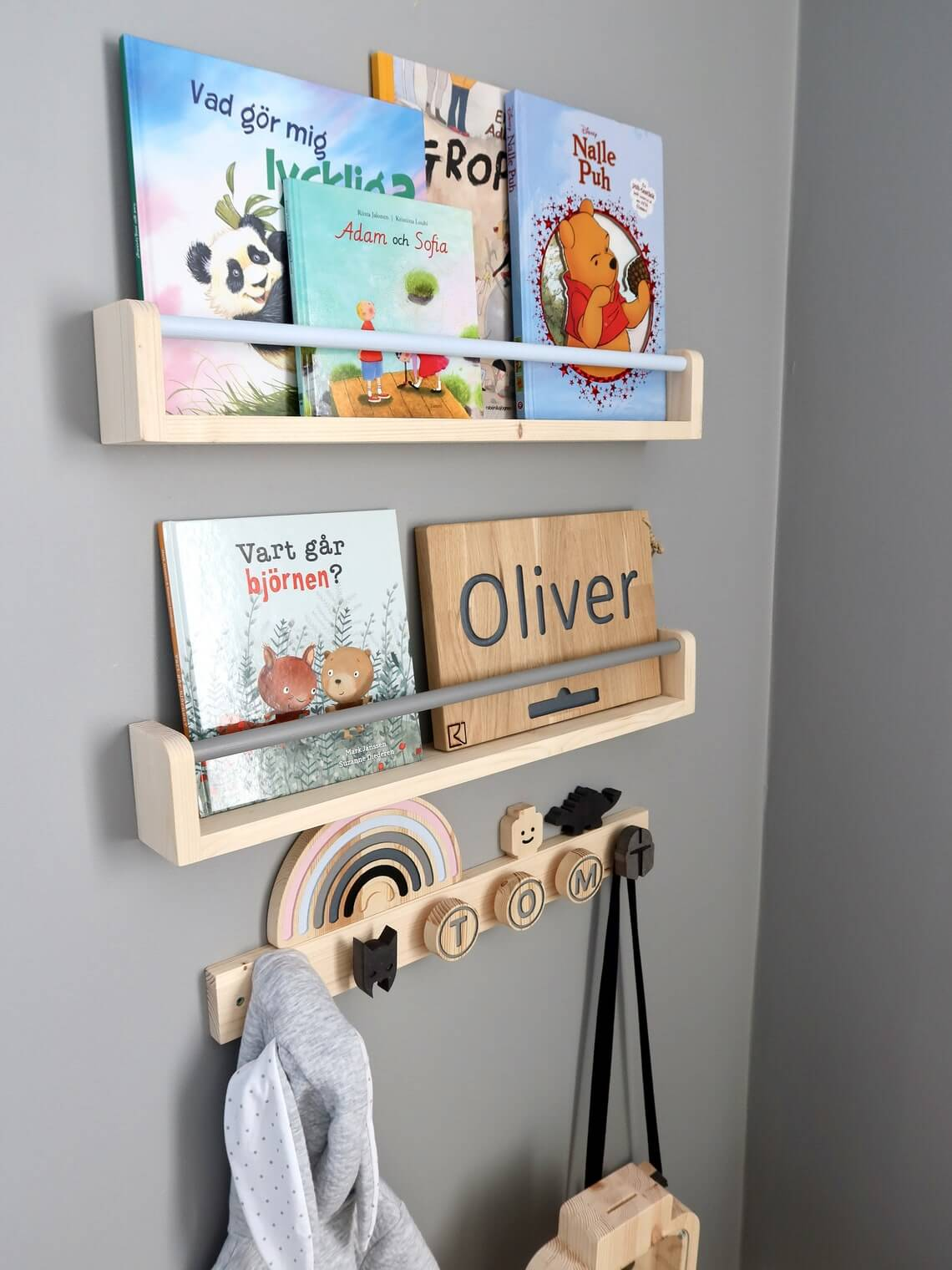 Small Dowel Rod Nursery Bookshelf