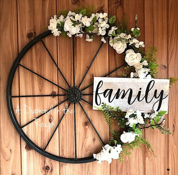 Metal Bicycle Wheel with Welcome Sign