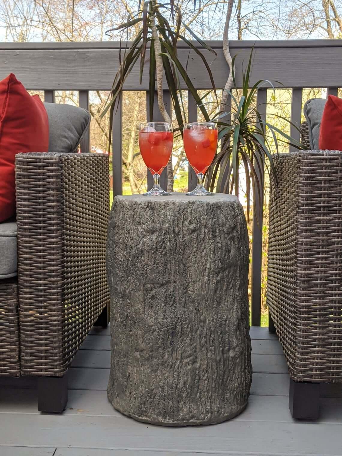 Faux Wood Stump Concrete Side Table