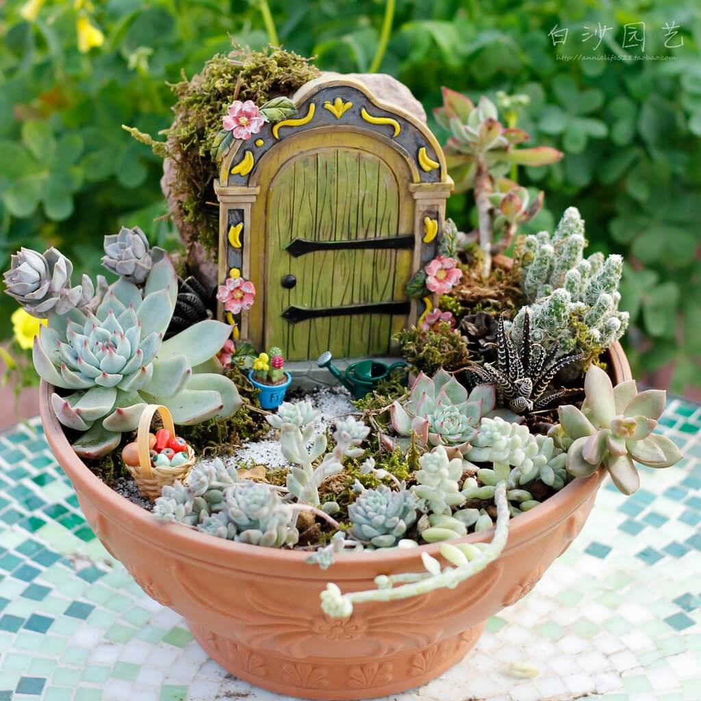 Secret Door Succulent Fairy Garden