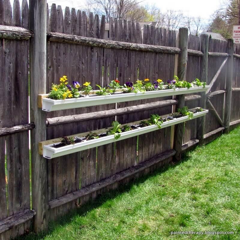 Gutter Garden for Flowers, Herbs, or Strawberries