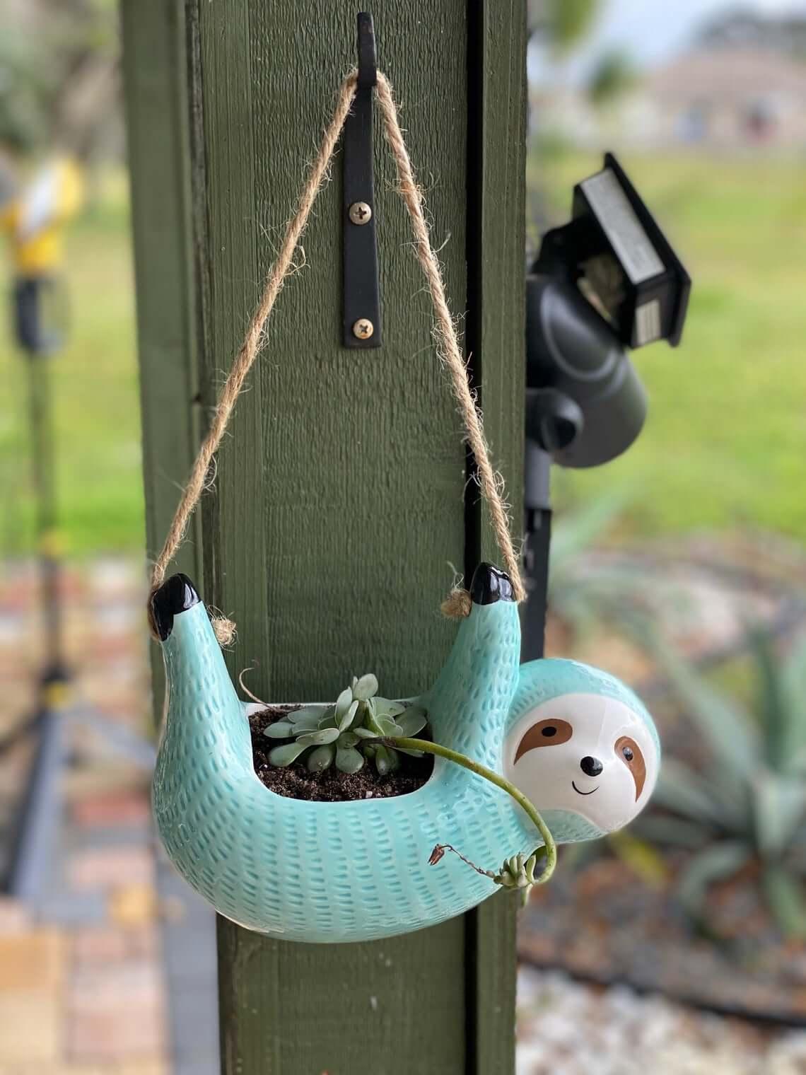Cute Turquoise Sloth Mini Succulent Planter