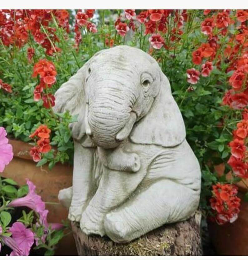 Wrinkly Rascal Seated Elephant Garden Sculpture