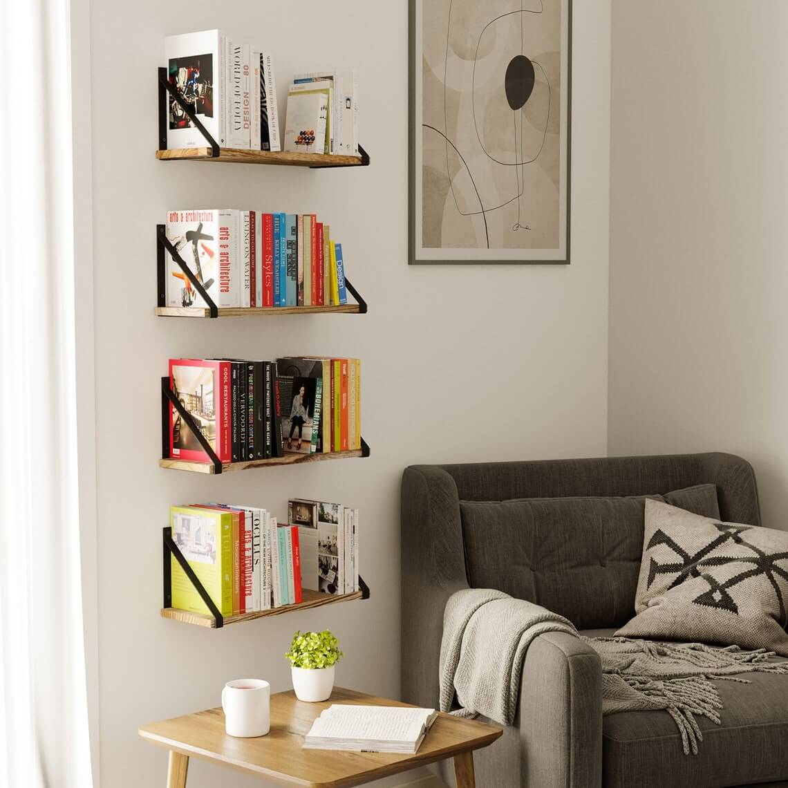 Modern and Rustic Floating Shelves