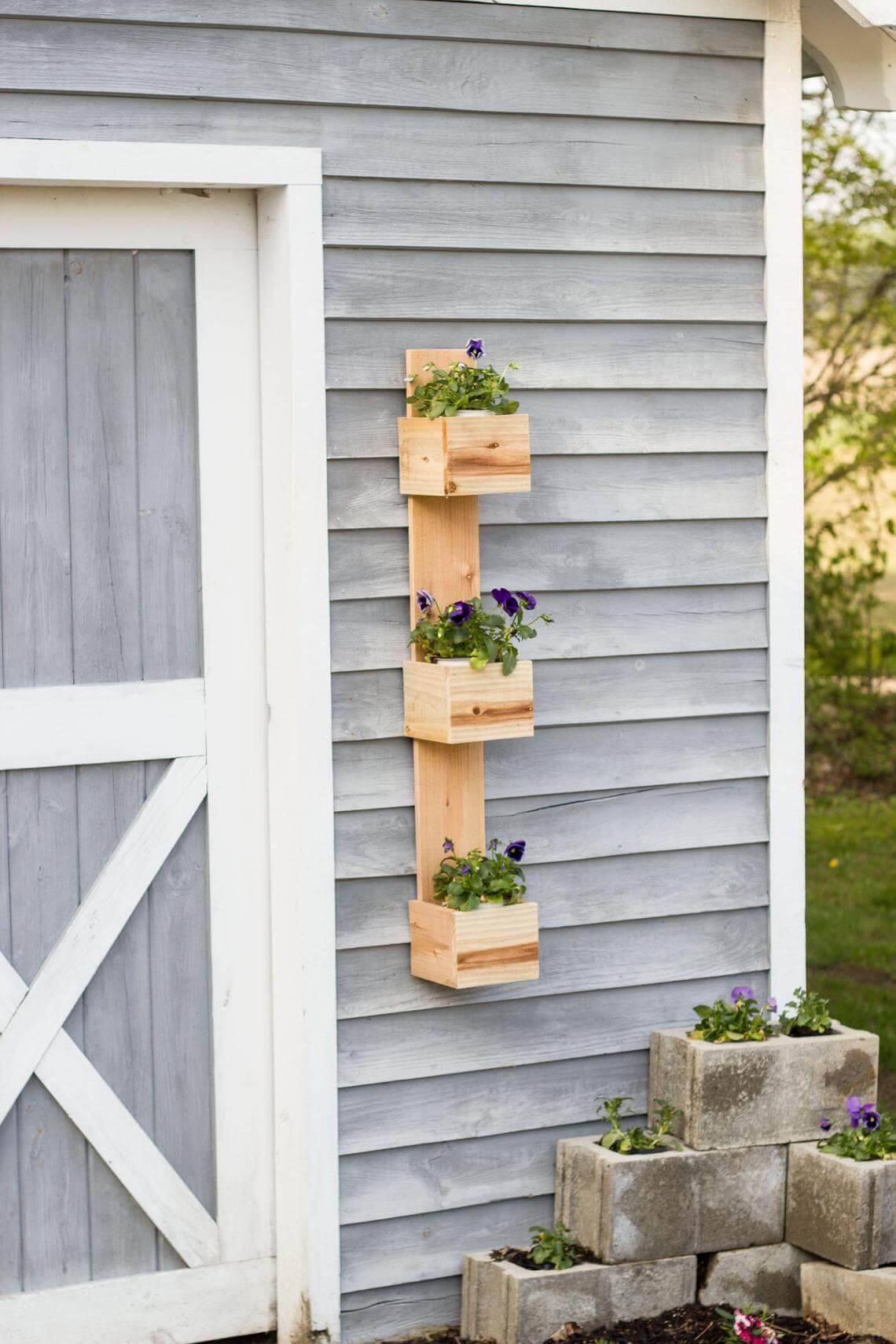 Rustic Tiered Cedar Box Hanging Planter