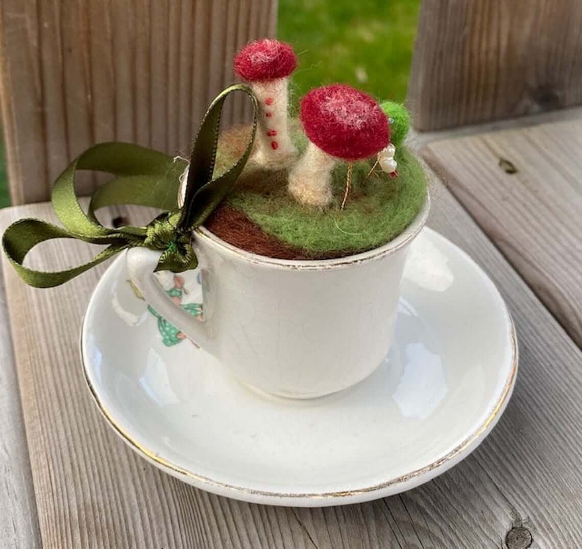 Fuzzy Mushroom Decorative Teacup and Saucer