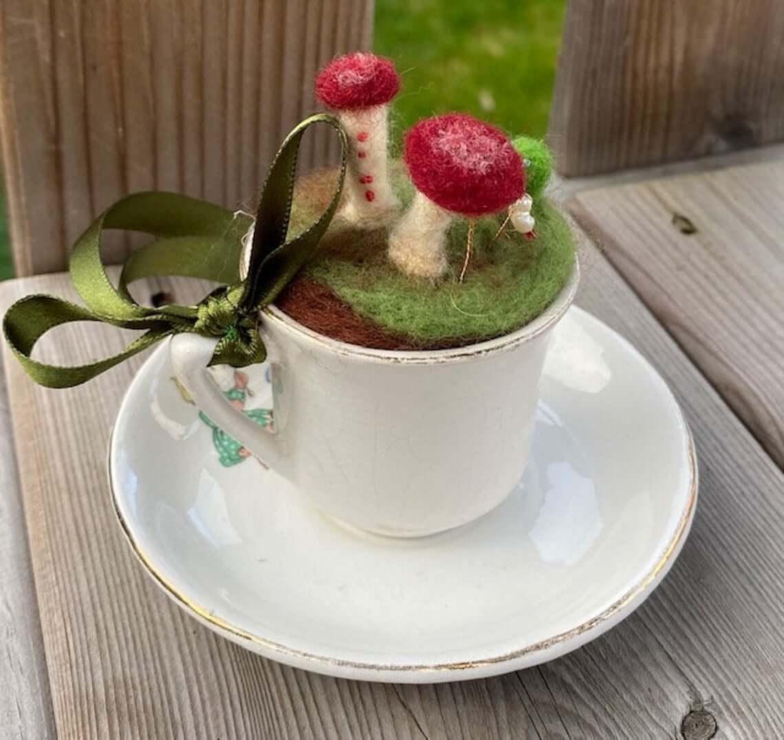 Fuzzy Mushroom Decorative Teacup and Saucer
