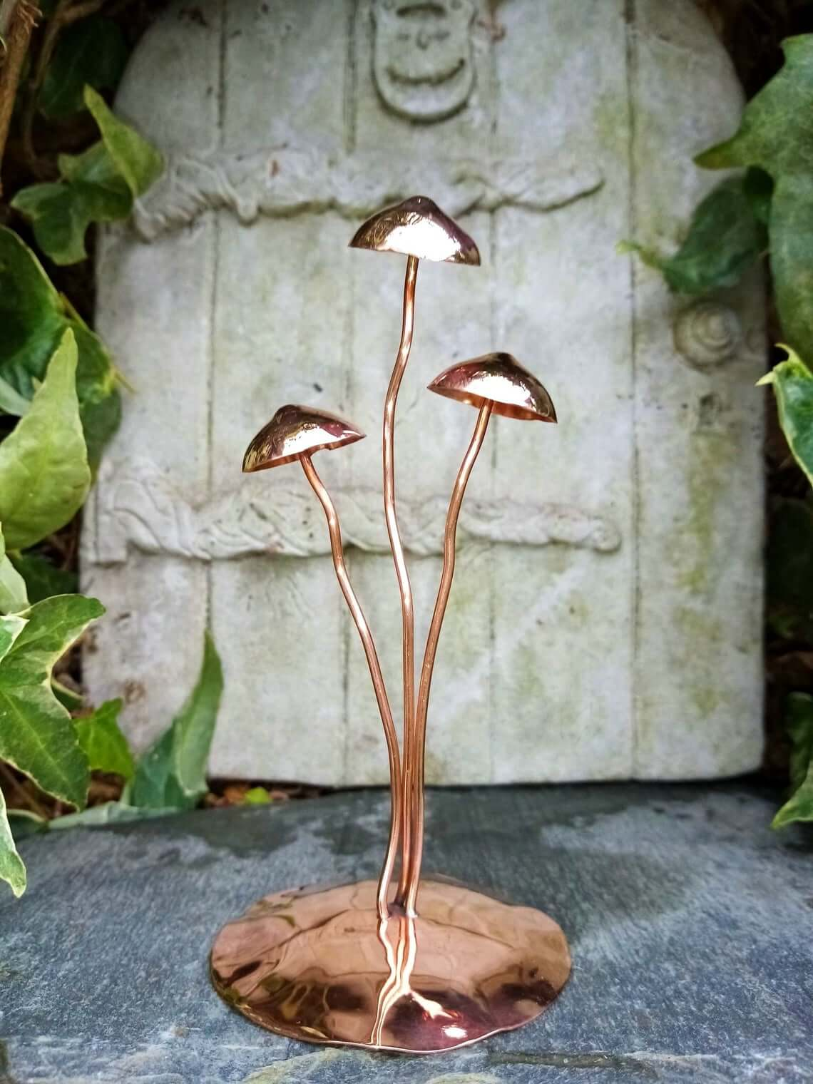 Handmade Glossy Copper Mushroom Garden Sculpture