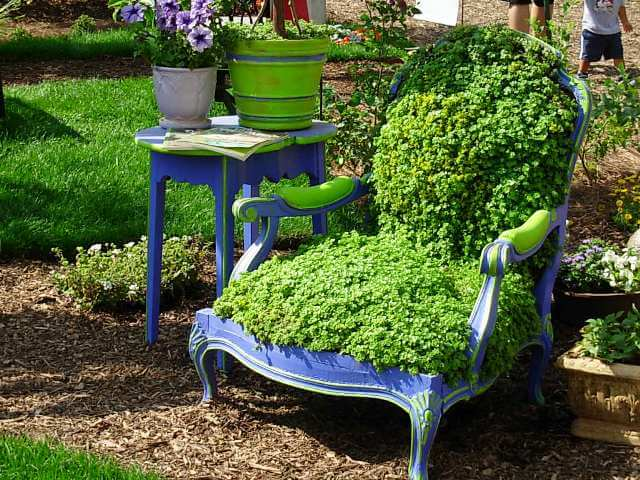 """Lush Greenery """"Cushions"""" on a Rejuvenated Armchair"""