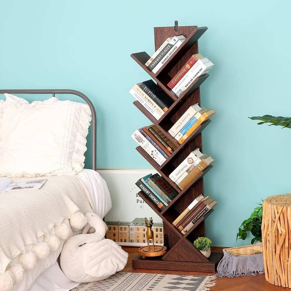 Dark Wooden Tree Book Shelving Rack