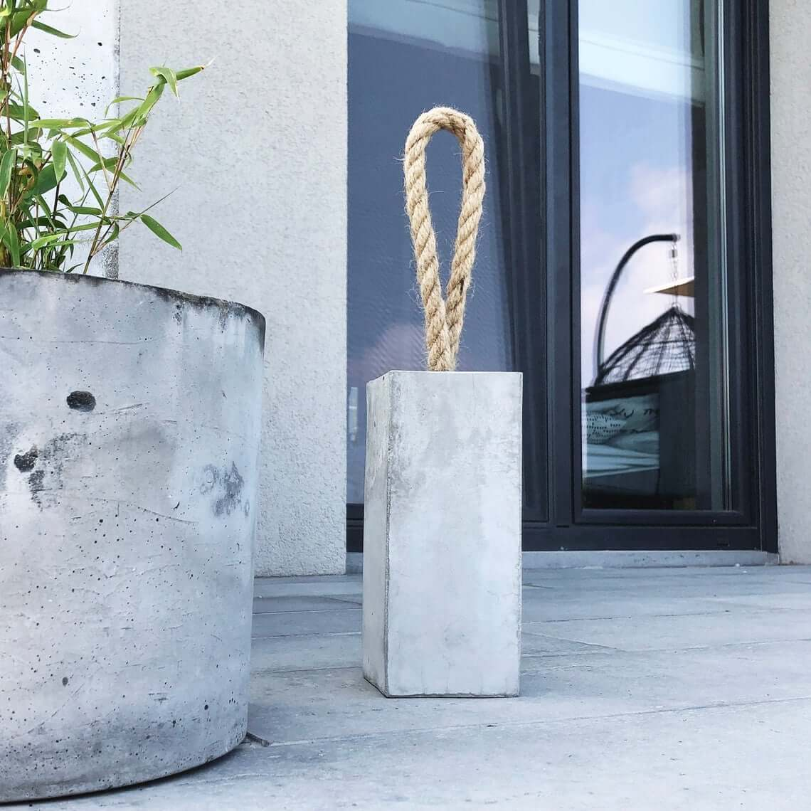 Nautical and Modern Concrete Anchor with Rope