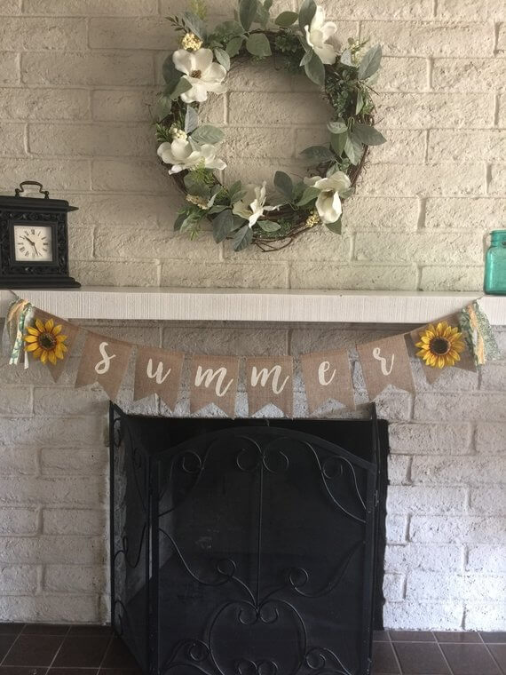 Burlap Banner with Sunflower and Garlands