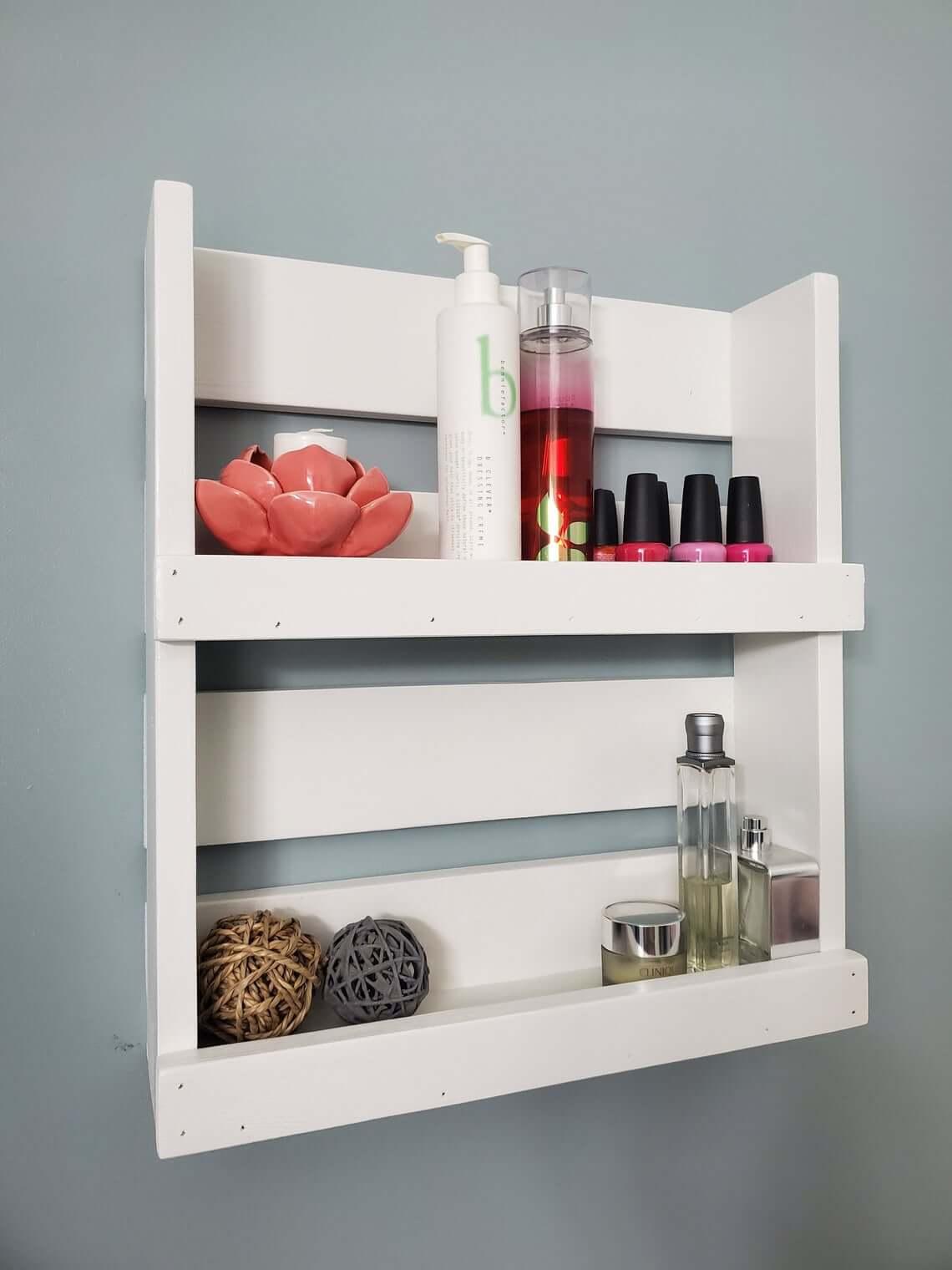 Crafty and Cute White Wooden Bathroom Shelf