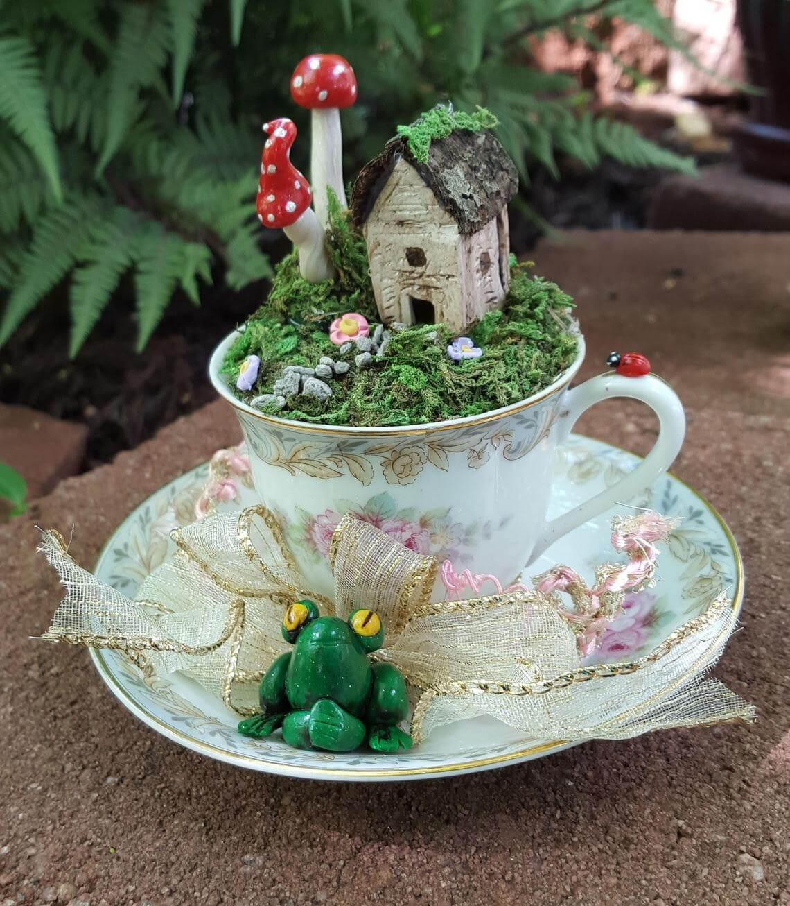 Rustic Victorian Teacup Miniature Garden
