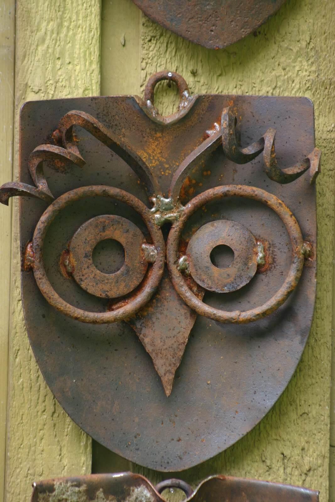 Repurposed Rusty Metal Garden Owl Art