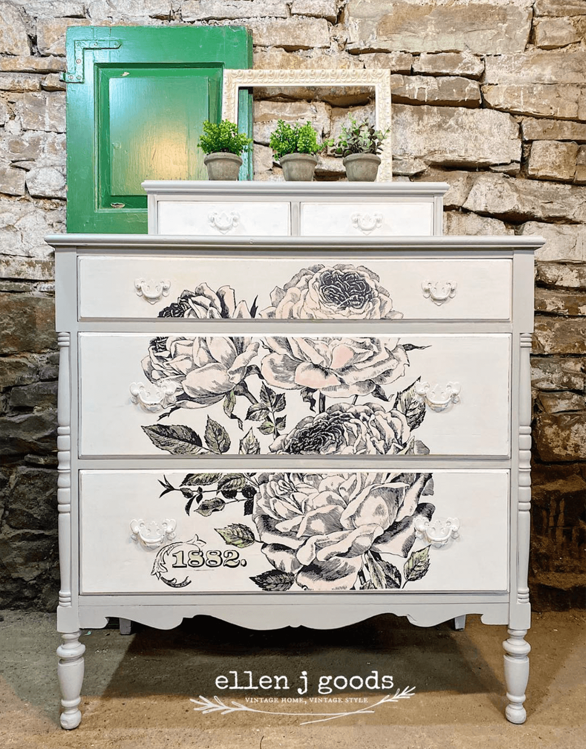 Boho Chic Vintage with Floral Print Drawers