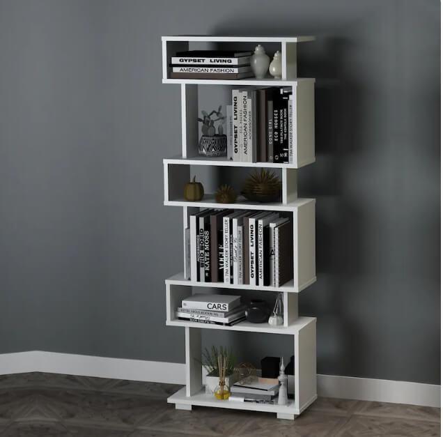 Streamlined Vertical White Rectangular Bookshelf