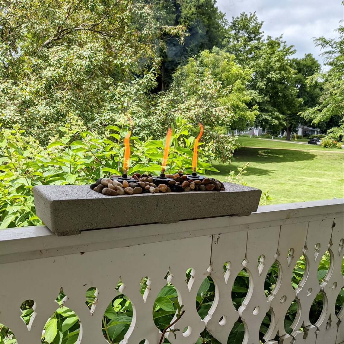 Oblong Concrete Fire Feature for Front Porch
