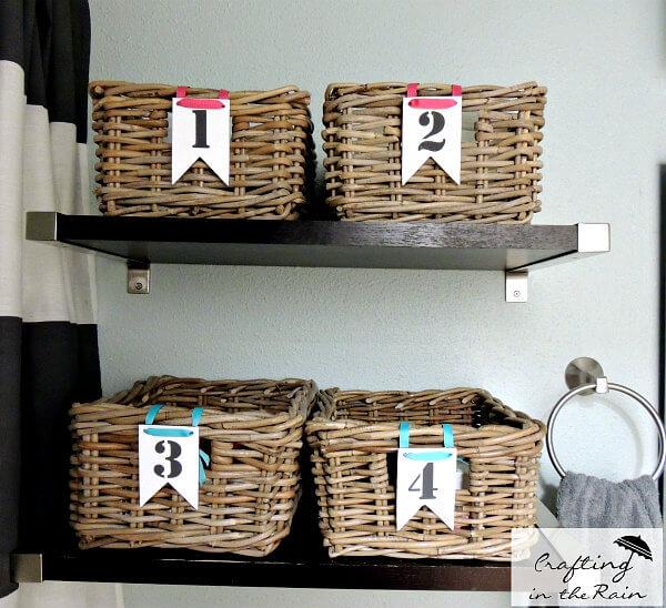 Rectangular Basket Bin Bathroom Organization