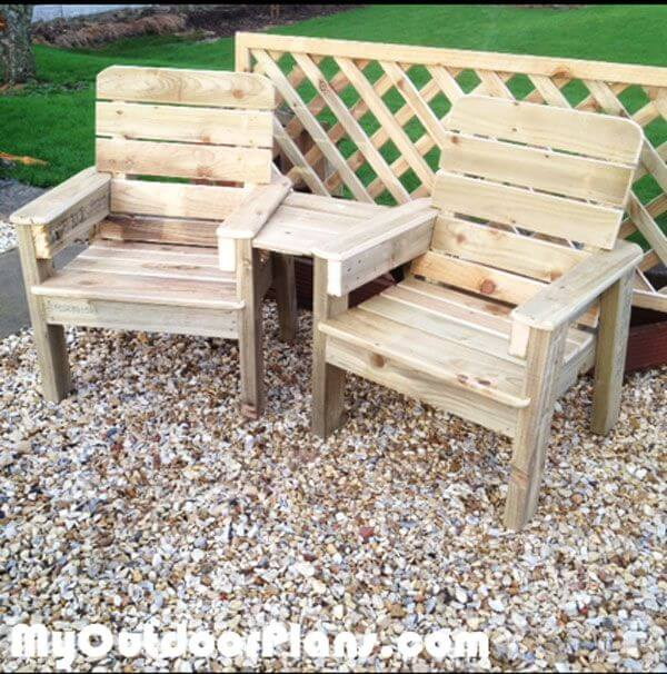 Outdoor Wooden Chair Set with Middle Table