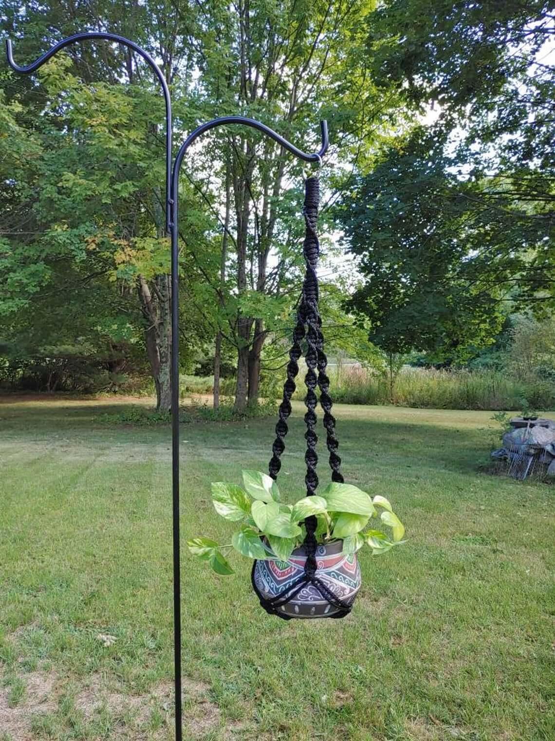 Bold Black Macrame Bohemian Plant Holder