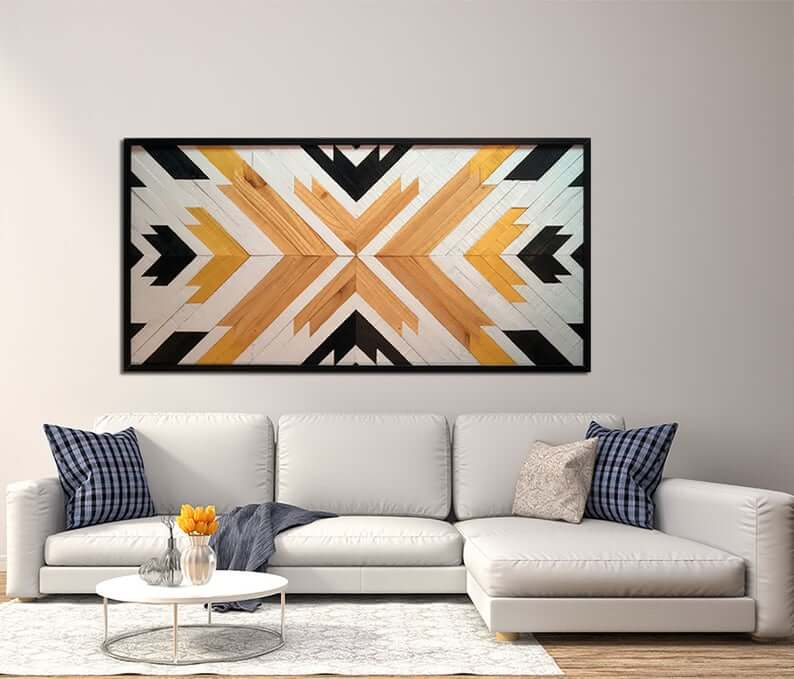 Powerful Painted Sunburst Wooden Wall Art