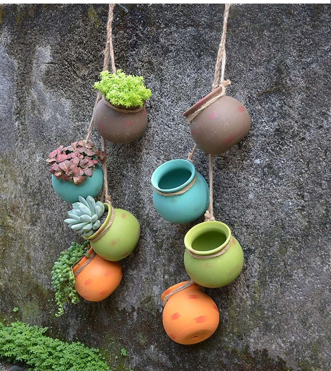 4 Piece Bonsai Hanging Wall Planter Pots