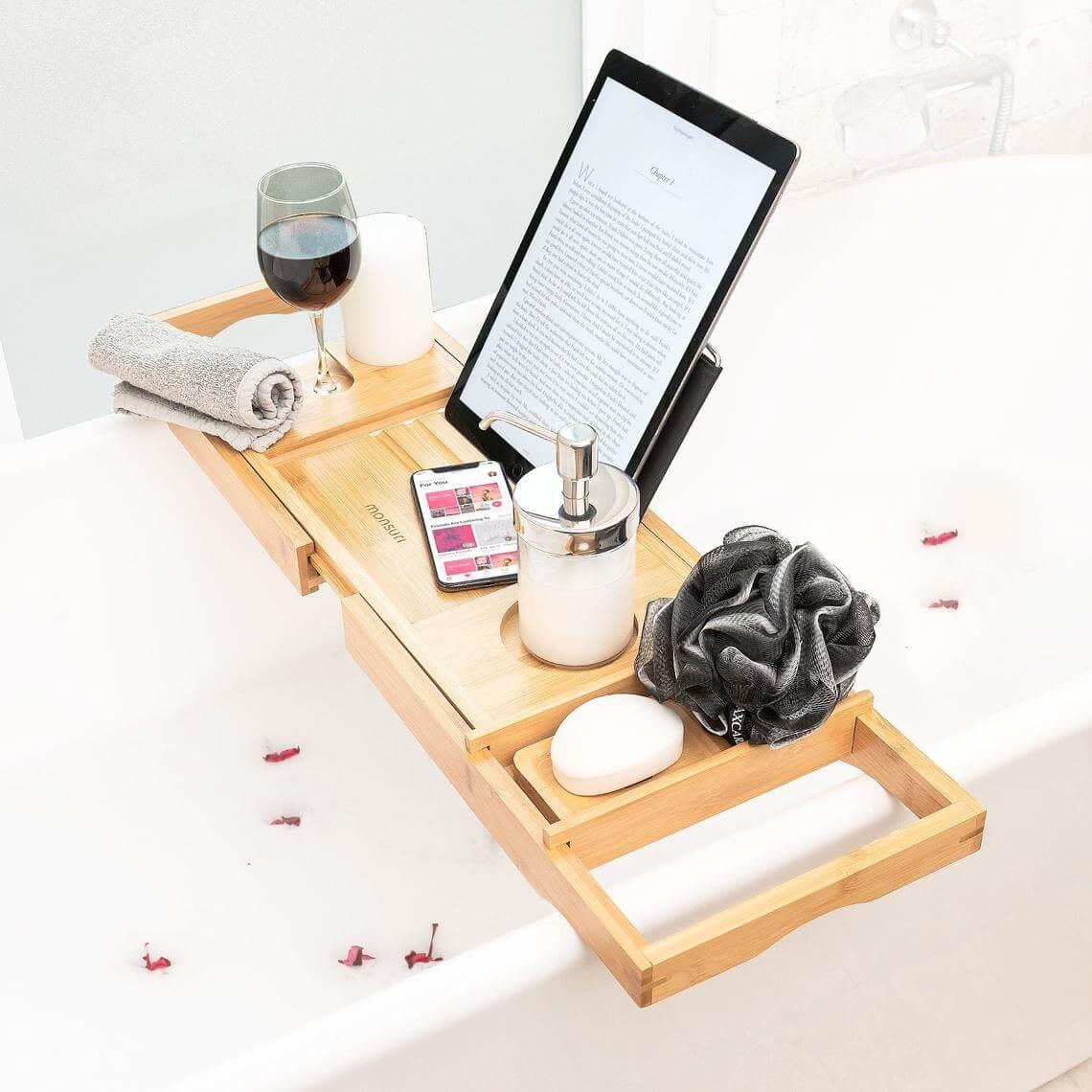 Personal Spa at Home Bamboo Bath Tray