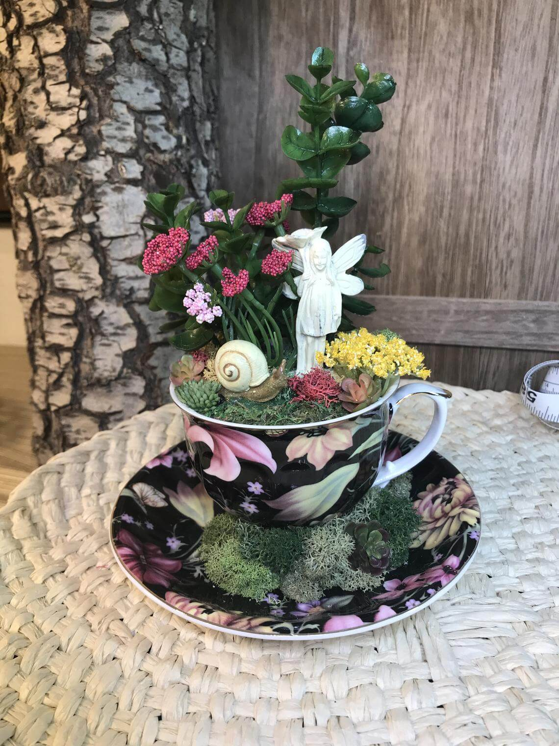 Miniature Fairy and Snail Statue Teacup Garden